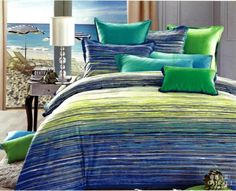 Blue green striped Egyptian cotton bedding set queen quilt duvet cover king size bedspreads bed in a bag sheets bedclothes linen
