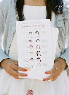 Modern Wedding Programs With Illustrations Of The Wedding Party