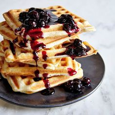 Ricotta Lemon-Blueberry Waffles | MyRecipes.com A sweet berry mixture tops these ricotta cheese-flavored waffles.