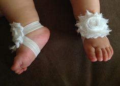 White Shabby Chic Flower Baby Barefoot Sandals, Newborn Barefoot Sandals, Photo Prop, Matching Headband - BL207