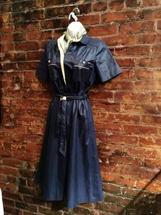 Sensational Mint condition 80's Vintage Sasson Shiny Navy Blue belted Short Sleeved Dress size 10 by MySoulRepair on Etsy https://www.etsy.com/listing/509395609/sensational-mint-condition-80s-vintage