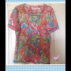 Colorful Print Top Colorful cute top in great condition. It's 95%Cotton 5% Spandex Alfred Dunner Tops