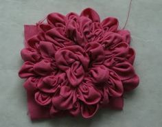 Ruched fabric flower - so cute & so easy! -- Wonder what it would look like if you did this and then dyed it!!!