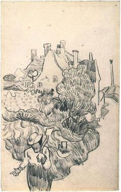House at Auvers, A - Vincent van Gogh . Created in Auvers-sur-Oise in June - July , Located at Van Gogh Museum Vincent Van Gogh, Art And Illustration, Illustrations, Van Gogh Drawings, Van Gogh Paintings, Desenhos Van Gogh, Van Gogh Arte, Van Gogh Pinturas, Art Van