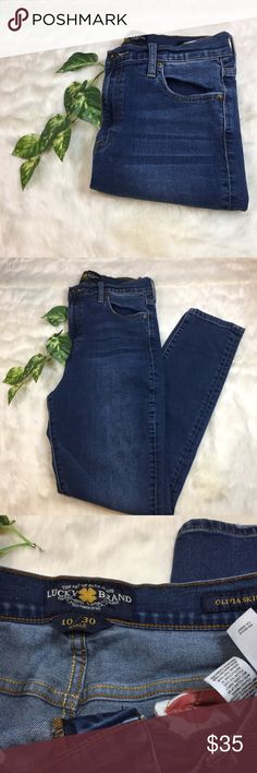Lucky Brand High Waisted Olivia Jeans Gently used pair of Olivia Jeans. Light distressing on the back pockets but overall in great condition. Lucky Brand Jeans Skinny