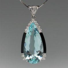 Deco Style Aquamarine Pendant with Onyx & Diamonds Platinum - August 03 2019 at Aquamarine Stone Ring, Aquamarine Pendant, Aquamarine Jewelry, Turquoise Jewelry, Diamond Pendant, Diamond Jewelry, Jewelry Necklaces, Bracelets, Bijoux Art Deco