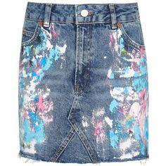 Topshop Moto Paint Splatter Skirt found on Polyvore featuring skirts, zipper skirt, blue skirt, button skirt, topshop skirts and paint splatter skirt