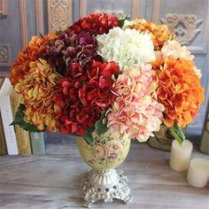2017 Hot Sale Wine Red Rose Autumn Vintage Artificial Silk Peony Flower Bouquet Room Hydrangea Wedding Hold Flowers Home Decor Peony Flower Arrangements, Altar Flowers, Holding Flowers, Beautiful Flower Arrangements, Hydrangea Flower, Flower Vases, Beautiful Flowers, Peony Rose, Table Arrangements