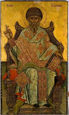 St Spyridon the Wonderworker and Bishop of Tremithus - Orthodox Church in America Byzantine Icons, Byzantine Art, Religious Icons, Religious Art, Paint Icon, Russian Icons, Orthodox Icons, Sacred Art, People Art