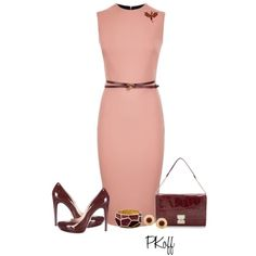 blush pink dress is tailored for the perfect pencil fit, burgundy accessories. Yum...