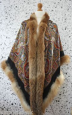 GENUINE-REAL-PAVLOVO-POSAD-GOLDEN-FROST-FOX-FUR-TRIMMED-EX-FINE-WOOL-CAPE-SHAWL