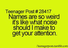 Teenager Post #28417 ~ Names are so weird it's like what noise should I make to get your attention. ☮