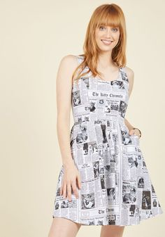 The top headline in style today? This black and white dress, printed with a plethora of fine-looking felines! A ModCloth exclusive by. Unique Dresses, Dresses For Sale, Cute Dresses, Casual Dresses, Fashion Dresses, Short Dresses, Mod Dress, Retro Dress, Black And White Vintage Dresses