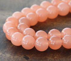 Coral Semi-Transparent Jade Beads, 8mm Round