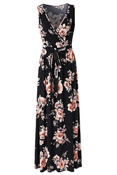Zattcas Womens V Neck Sleeveless Empire Waist Floral Maxi Dress … (Small, Navy/Orange) Long Floral Maxi Dress, Plus Size Maxi Dresses, Summer Dresses, Long Dresses, Formal Nursing Dress, Nursing Clothes, Friend Outfits, Summer Fashion Outfits, Colourful Outfits