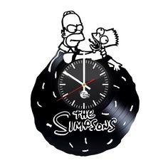 Homer Simpsons Doh Handmade Vinyl Record Wall Clock Fan Gift - VINYL CLOCKS
