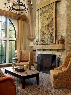 "so warm and inviting! ""Elegant tapestries and rugs are popular in Tuscan decorating. Use them as artwork and to introduce warm Tuscan colors into a room."""