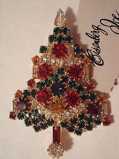 Christmas Candle Tree Pin / Brooch - Signed EISENBERG ICE