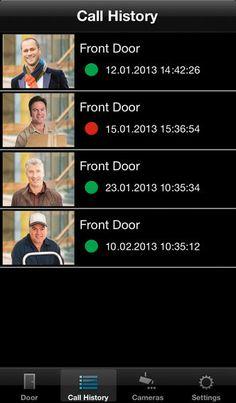 Jung Door Control Module app for iPhone - Door call history log