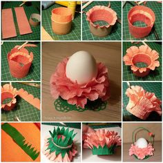 Easter is coming! Have you started to prepare for the holiday decorations? You don't have to spend extra money on some fancy Easter decors. You can make beautiful decors with something as simple as crepe paper and. Easter Crafts, Kids Crafts, Holiday Crafts, Easter Decor, Diy Quilling, Paper Lotus, Diy Paper, Paper Crafting, Crepe Paper Flowers