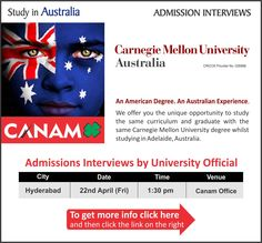 Study in #Australia - Carnegie Mellon University. For complete information & enrolment, Contact CANAM on - 1800-200-5499 or Register Here http://www.canamgroup.com/maileruniversity.php?name=cmu-hyd  #Studyabroad #StudyinAustralia #Australia_Student_Visa #Australia_Study_Visa #CanamConsultants #CanamGroup