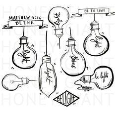 Lightbulb Clip Art- Be the Light by honeygiant on Etsy Light Bulb Drawing, Light Bulb Art, T Shirt Designs, Lightbulb Tattoo, 16 Tattoo, Vintage Light Bulbs, Light Tattoo, Clip Art, Light Of The World