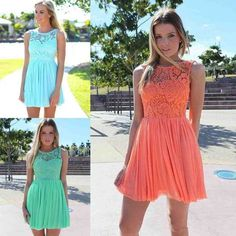 2016 Summer Beach Coral Turquoise Lace Bridesmaid Dresses For Wedding Cheap vestido madrinha Short wedding party dresses Short Lace Bridesmaid Dresses, Lace Bridesmaids, Short Dresses, Cheap Dresses, Formal Dresses 2015, Ice Dresses, Summer Dresses, Wedding Party Dresses, Wedding Coral