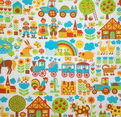 GRAZIELA retro vintage children's fabric by vintage4kids on Etsy, $18.00