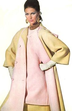 Coat and dress in pale pink and beige, Madame Grès 1966 IRVING PENN FOR VOGUE