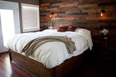 DIY Wood Plank Wall - oh my goodness do I love this!!! Great for guest room or master bedroom...even an office space!