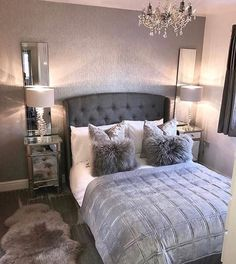 dream rooms for women - dream rooms . dream rooms for adults . dream rooms for women . dream rooms for couples . dream rooms for adults bedrooms . dream rooms for girls teenagers Gray Bedroom, Home Decor Bedroom, Master Bedroom, Bedroom Furniture, Teen Bedroom, Modern Bedroom, Silver Bedroom, Budget Bedroom, Furniture Design