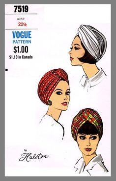 винтажный модный дизайнер Halston дамских шляп ТЮРБАН ткань Выкройка # 7519