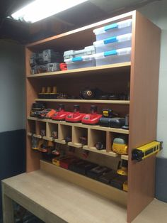 Get your garage shop in shape with garage organization and shelving. They come with garage tool storage, shelves and cabinets. Garage storage racks will give you enough space for your big items and keep them out of the way. Power Tool Storage, Garage Tool Storage, Workshop Storage, Workshop Organization, Home Workshop, Garage Tools, Garage Workshop, Shed Storage, Garage Organization