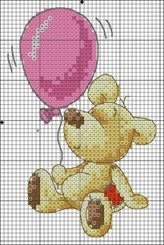 bear with a balloon cross stitch chart Baby Cross Stitch Patterns, Cross Stitch For Kids, Cross Stitch Boards, Cross Stitch Love, Cross Stitch Alphabet, Cross Stitch Animals, Cross Stitch Kits, Cross Stitch Designs, Cross Stitching