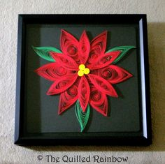 Quilled Red Poinsettia Flower in Black Shadow by TheQuilledRainbow