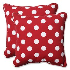 Darby Home Co Alsip Indoor/Outdoor Throw Pillow Color: Red / White Polka Dot Outdoor Cushions And Pillows, Toss Pillows, Throw Pillow Sets, Pillow Talk, Accent Pillows, Outdoor Pillow, Perfect Pillow, Decoration, Just In Case