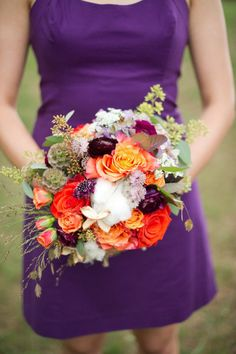 Purple maids dress and fall bouquet. Photography by juliereneephotography.com Floral + Event Design + Planning by hollychappleflowers.com  Read more - http://www.stylemepretty.com/2013/06/13/virginia-wedding-from-julie-massie-holly-chapple-flowers/