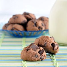 Double Chocolate Protein Cookies: Just a can of chickpeas, water, protein powder, and chocolate chips! Why have I never thought of this?!