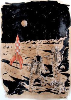 Hommage a herge / on a marche sur la lune par Christophe Chabouté - Planche originale