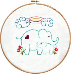 Elephants Embroidery Pattern from the Mothers Love Embroidery collection at arialane.com