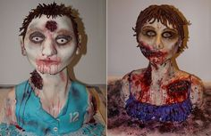 Zombie bust cake tutorials male & female by Deanna Briggs.