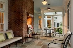 Loving the exposed brick with the stone floorss--we will have to refinish slate flooring!