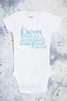 Preemie From Small Beginnings Come Great Things Iron On Glitter Decal For Preemie  Clothes Girl Preemie One Piece Bodysuit f5845970299c