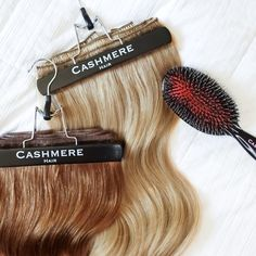 Classic vs. Seamless - what's your preference?⠀⠀⠀⠀⠀⠀ ⠀⠀⠀⠀⠀⠀⠀⠀⠀ Pictured here from left to right: 16 Seamless Clip-In Extensions in Hollywood Bronzed Brunette, 18 Classic Clip-In Extensions in Natural Blonde, and our Cashmere Brush 💫 Clip In Hair Extensions, Shark Tank Tv Show, Cashmere Hair, Natural Blondes, In Hollywood, Bobby Pins, Hair Accessories, Bronze