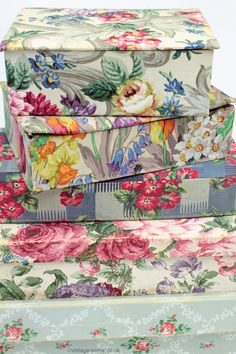 Vintage Home Shop - A Collection of Vintage Fabric and Wallpaper Covered Boxes: www.vintage-home.co.uk