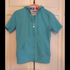 SALE  Short Sleeve Hoodie Perfect for Spring!! Torquise, Short Sleeve, Zip-Up, Hoodie. Pic 2&3 is best for color. Is pre-loved but in Good Condition!! New York & Company Tops Sweatshirts & Hoodies