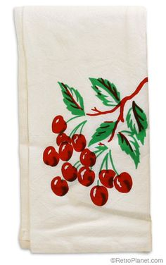 Retro 50's Style Cherries Kitchen Towel