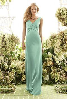 Brides.com: Designer Bridesmaids Dresses Under $200. Bridesmaid Dress Under $200: After Six. V-neck floor-length dress, style 6550, $198, After Six  See more green bridesmaid dresses.  Shop this look at Weddington Way.
