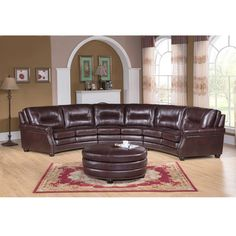 Centro Chocolate Brown Curved Top Grain Leather Sectional Sofa and Ottoman  sc 1 st  Pinterest : ethan allen leather sectional - Sectionals, Sofas & Couches