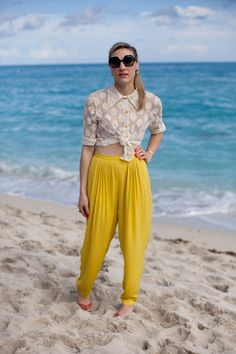 South Beach Chic: Art Basel Street Style - Mia Moretti is daytime ready in playful yellow and lace.